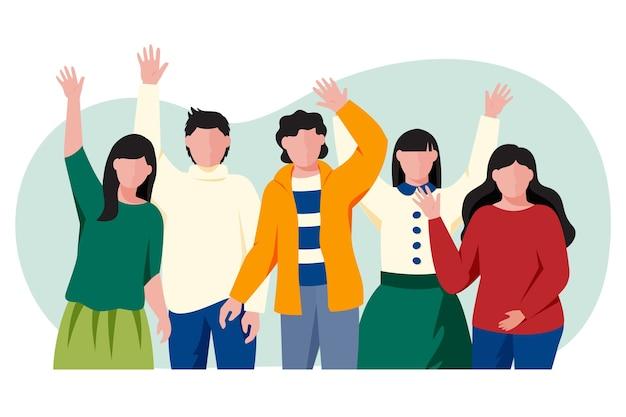 손을 흔드는 젊은 사람들의 그룹 무료 벡터