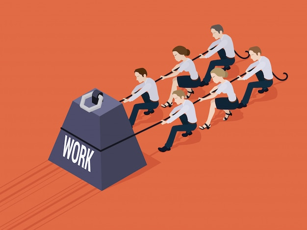 Group of office workers pushing the weight with the work inscription Premium Vector