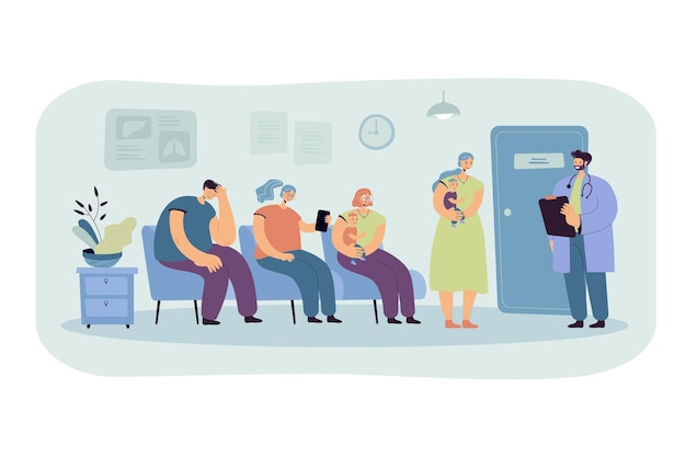 Group of patients waiting their turn at doctor office in clinic corridor. cartoon illustration Free Vector