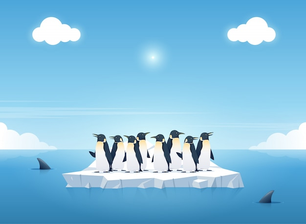 Group of the penguins on a piece of iceberg Premium Vector