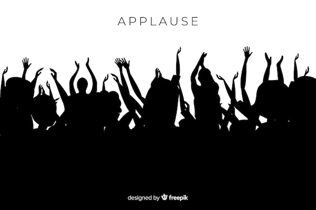 Group of people applauding silhouette Free Vector