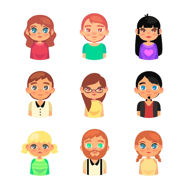 Group of people avatars Free Vector