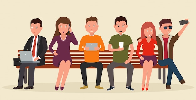 Group of people on bench with mobile devices. Premium Vector