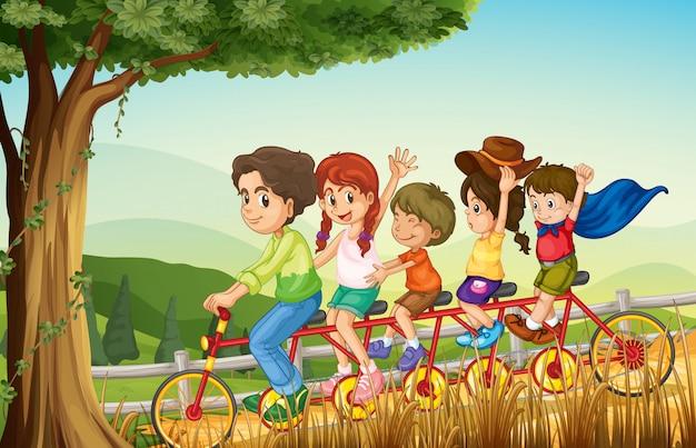 A group of people biking Premium Vector