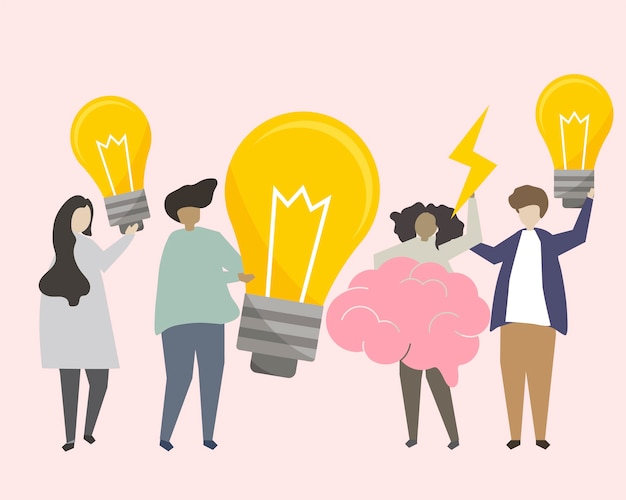 A group of people brainstorming ideas illustration Free Vector