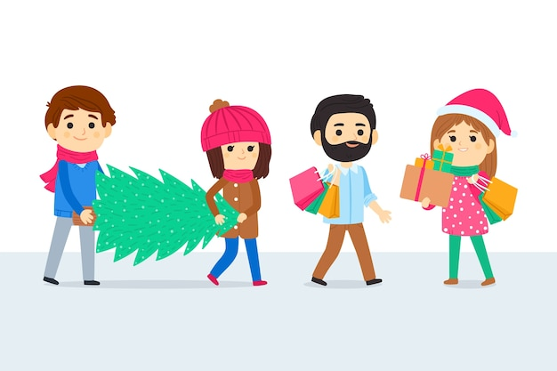 Group of people buying christmas gifts Free Vector