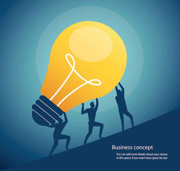 Group of people carrying light bulb concept of creative thinking Premium Vector