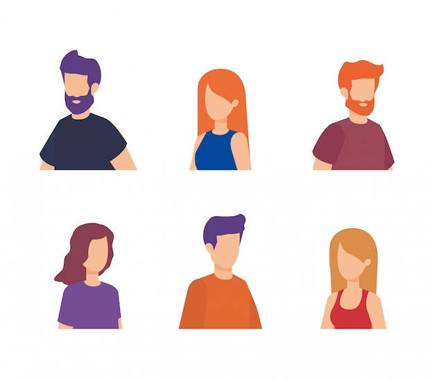 Group of people characters Free Vector