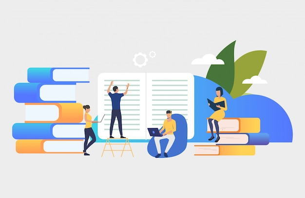 Group of people creating books Free Vector