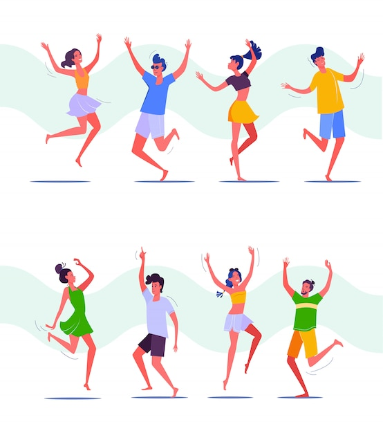 Group of people dancing together Free Vector