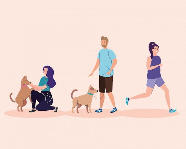 活動をしているグループの人々、走っている女性、犬のイラストデザインのカップル Premiumベクター