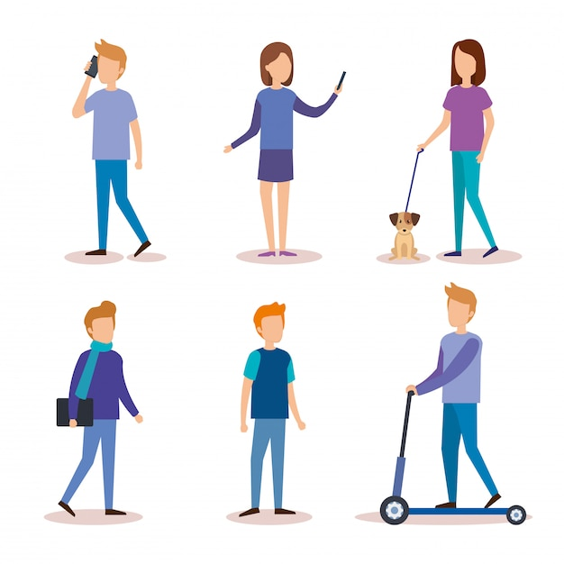 Group of people doing activities Free Vector