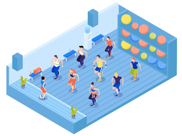 Group of people doing aerobics in gym with colorful fit balls on shelves 3d isometric vector illustration Free Vector
