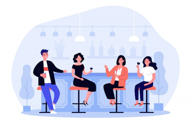 Group of people drinking wine and beer in pub Premium Vector