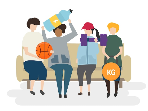 Group of people exercising illustration Free Vector