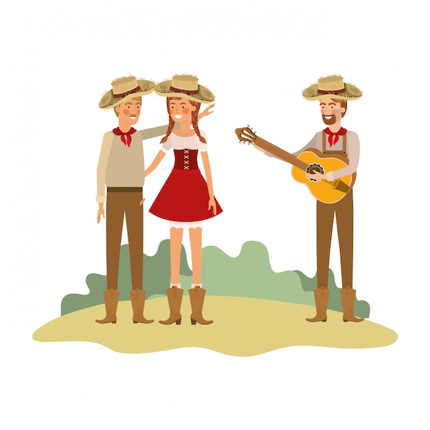 Group of people farmers with musical instruments Premium Vector