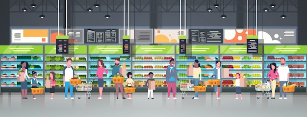 Group of people holding bags, baskets and pushing trolleys Premium Vector