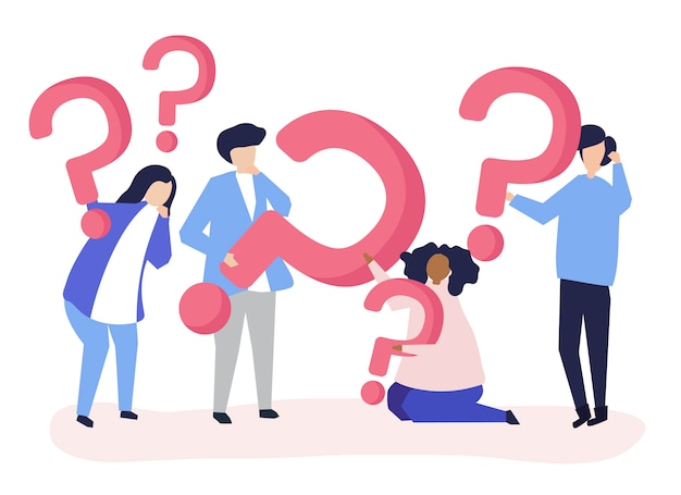 Group of people holding question mark icons Free Vector