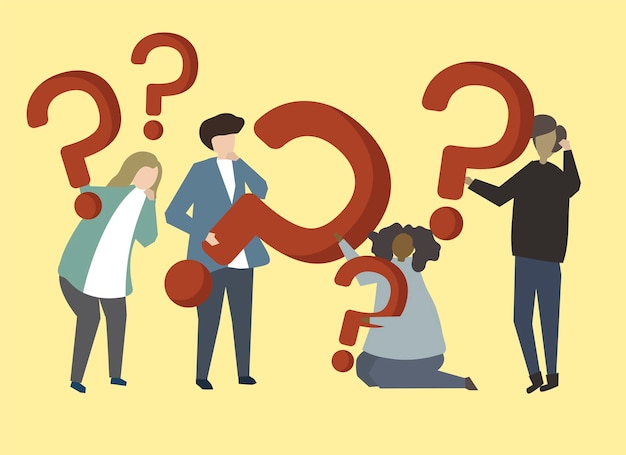 A group of people holding question mark signs illustration Free Vector