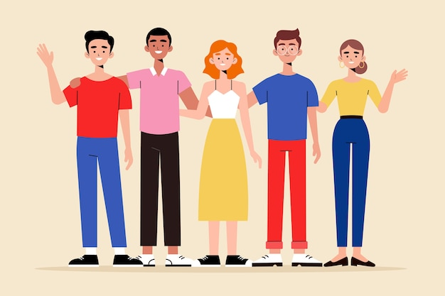 Group of people illustration collection Free Vector