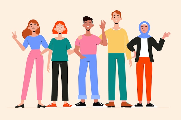 Group of people illustration set Free Vector