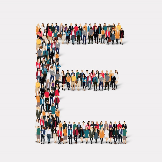 Group people letter form e. crowd point group forming a predetermined shape. Premium Vector