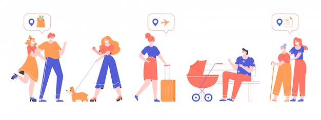 Group of people in medical masks on the street during a virus pandemic. couple goes to the grocery, a girl walks with a dog, a woman with bag, a father with a stroller, an old lady go to a pharmacy. Premium Vector