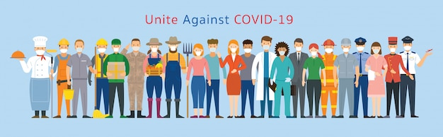 Group of people multinational wearing face mask, united to prevent covid-19, coronavirus disease Premium Vector