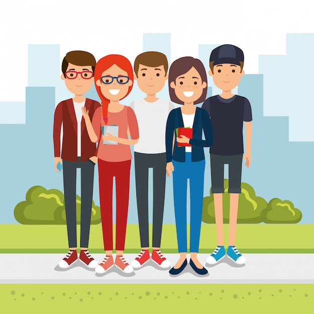 Group of people in the park Free Vector