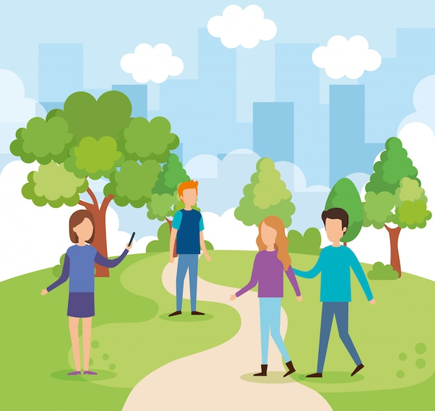 Group of people on the park Free Vector
