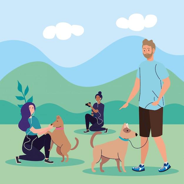 野外活動を行うグループの人々、犬とカメラマンの女性と散歩のカップル Premiumベクター