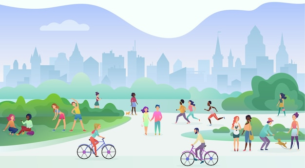 Group of people performing sports activities at park. doing gymnastics exercises, jogging, talking and walking, riding bicycles, playing with pets. Premium Vector