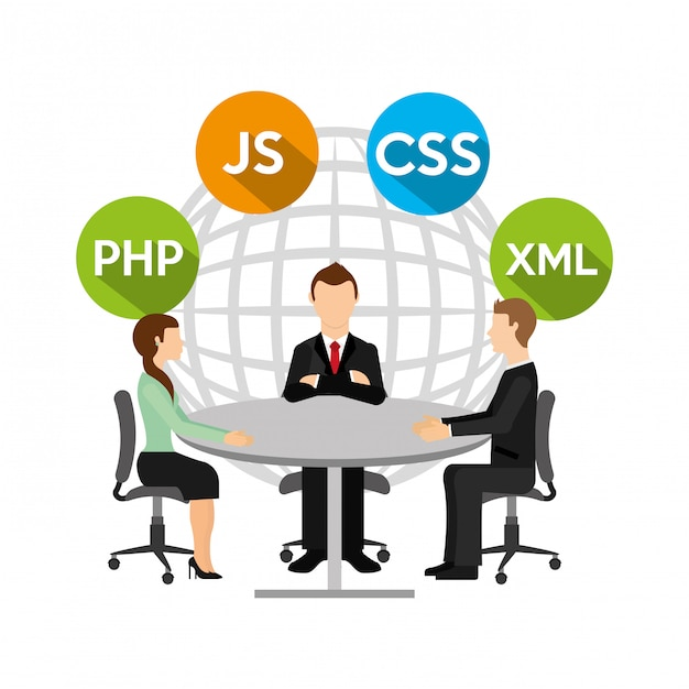 Group of people and programming concept Premium Vector