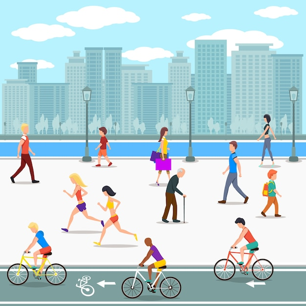 Group of people on promenade on city river street. flat illustration. Free Vector