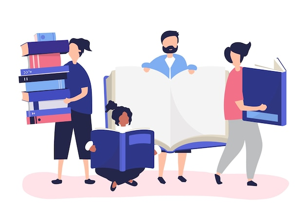 Group of people reading and borrowing books Free Vector