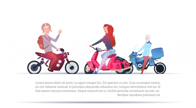 Group of people riding different motorcycles electric scooter and motorbike isolated on white backgr Premium Vector