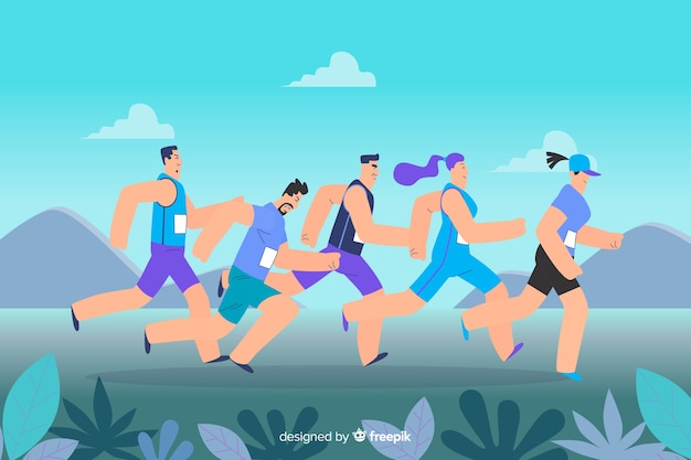 Group of people running together illustrated Free Vector