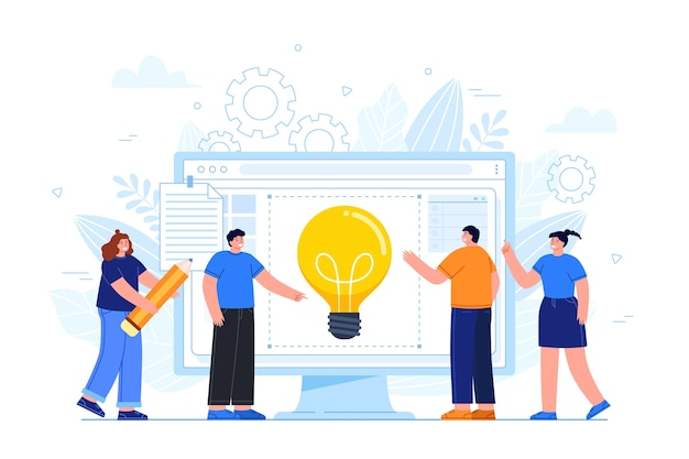Group of people sharing ideas Free Vector