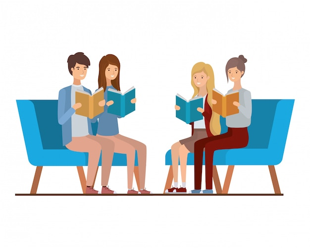 Group of people sitting on chair with book in hands Premium Vector