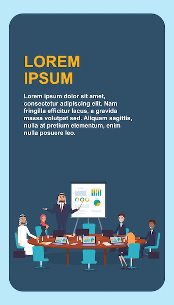 Group people sitting at round table. Premium Vector