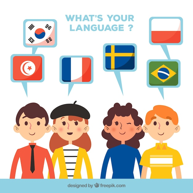 Group of people speaking different languages with flat design Free Vector