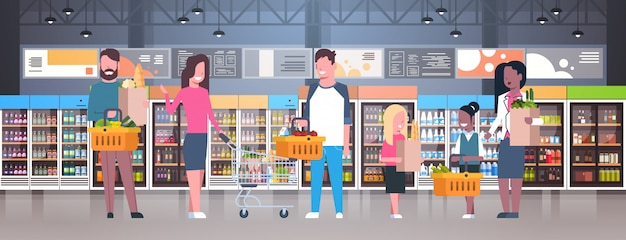 Group of people in supermarket, holding bags, baskets and pushing trolleys Premium Vector