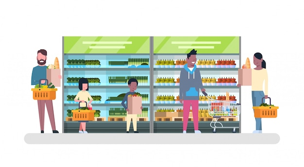 Group of people in supermarket with bags and baskets shopping and buying products, grocery consumerism concept Premium Vector