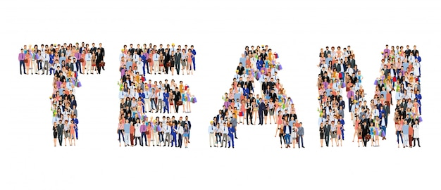 Group of people team lettering Premium Vector