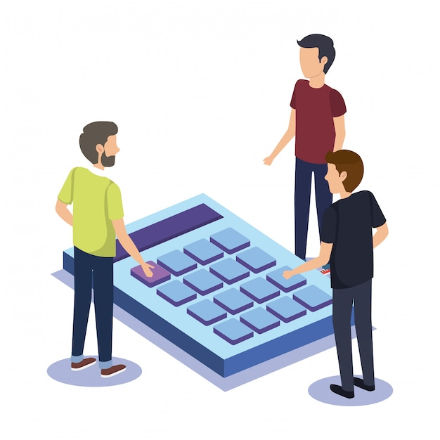 Group of people teamwork with calculator Free Vector