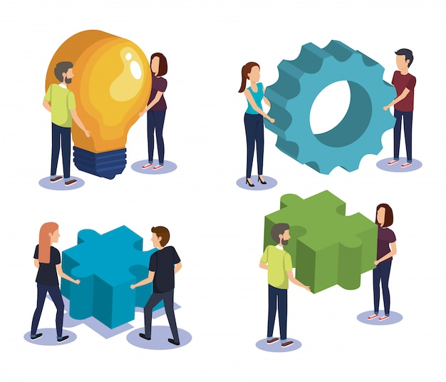 Group of people teamwork with electronics devices Free Vector