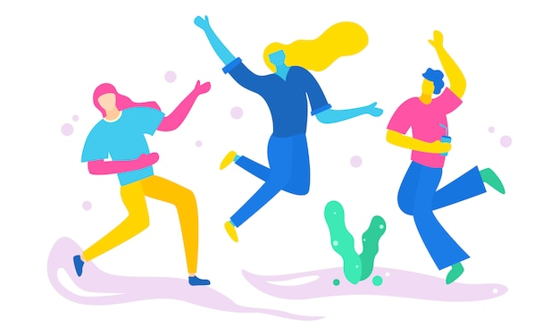 A group of people together having fun and partying Premium Vector