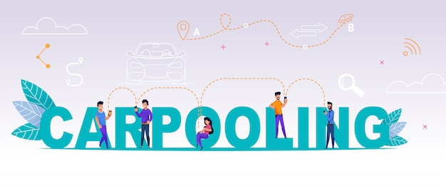 Group people using online application carpooling Premium Vector