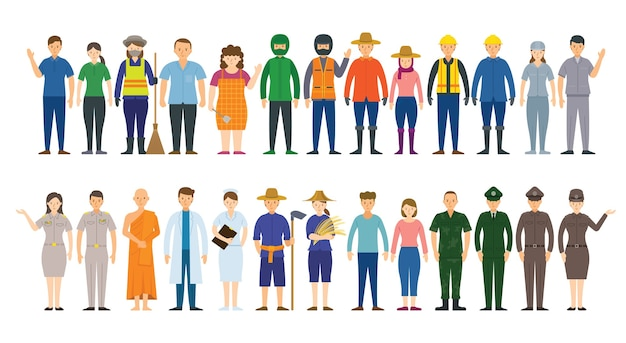 Group of people various professions and occupations Premium Vector