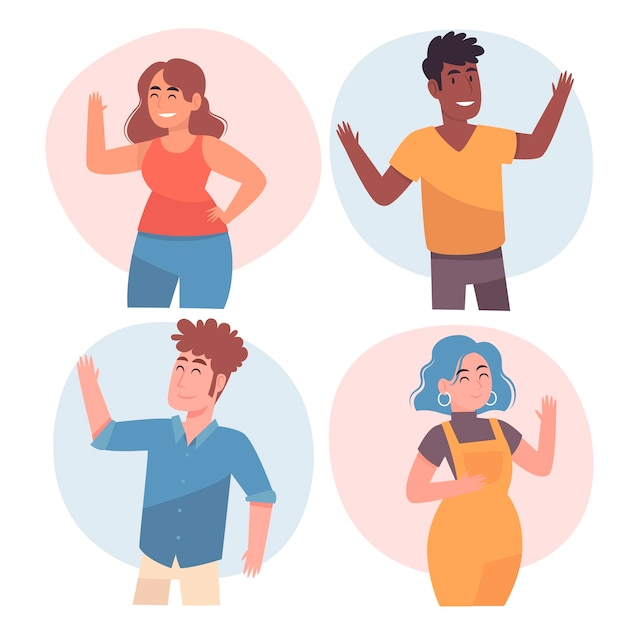 Group of people wave hands Free Vector
